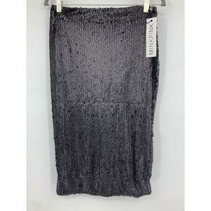 Minkpink small skirt Bordeaux sequined midi black
